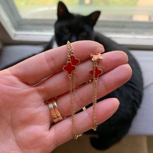 """Jewelry - Red and gold clover necklace 27""""long"""